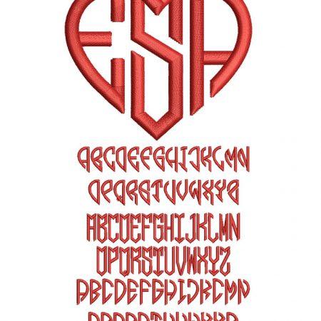 Hearts Mono 50mm Font